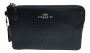 Coach Crossgrain Corner Zip Wristlet Metallic Midnight Blue F54626