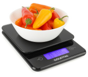 Gourmia GKS9115 Digital Kitchen Scale Tempered Glass Food Scale with LCD Touchscreen Display & Tare Function 5kg [11lb] Capacity. Measures 21.5 x 4.5 x 24.5 cm