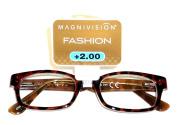 "Magnivision +1.75 ""CHANNING"" Brown Tortoise Plastic Frame Reading Glasses"