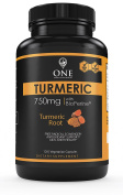 Turmeric Curcumin Supplement with BioPerine by One Minute Nutrition - Natural Pain Relief & Joint Support Supplement (1500mg Per Serving, 95% Standardised Curcuminoids) – Made in USA, 120 Capsules