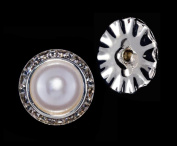 20mm Rondel Button with Imitation Pearl Centre - 11789/20mm