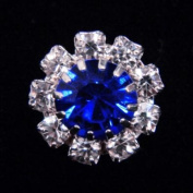 #14062 Medium Rhinestone Rosette Button - Sapphire Centre