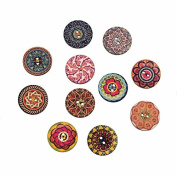 10 Assorted Round Wooden Buttons 2.5cm With for Sweaters or Crafts B111315G