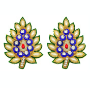 Royal Patch Beaded Indian Appliques Supply Decorative Leaf Crafting 1 Pair