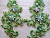25x10cm Green Lace Rhinestones Applique With Golden Wire Edge Delicate Embroidered Flower Motif Fabrics Venise Sew On Patches For Dress 1pcs