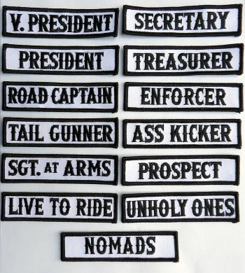 Son Outlaw Biker Front of Vest Jacket Title [ BLACK] 13 Pcs mc Patches