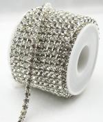10 Yard 5mm Crystal Rhinestone Close Silver Chain Clear Trim Wedding Dress Sewing Craft