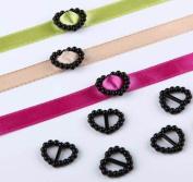 CraftbuddyUS100 Black Acrylic Heart Ribbon Slider Buckles for Wedding Invitations, Card Craft
