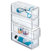 mDesign Textured 4-Drawer Cosmetic Organiser for Makeup, Beauty Products - Flip Tower, Clear