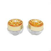 5PCS 5G Empty Refillable Acrylic Circular Bottle Container Jars Lotion Eye Cream Container With Circular Flower Shape Gold Cap and Inner Container