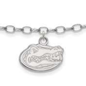 925 Sterling Silver Rhodium-plated Laser-cut University of Florida Anklet 23cm