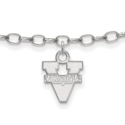 925 Sterling Silver Rhodium-plated Laser-cut University of Virginia Anklet 23cm