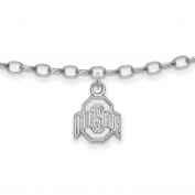 925 Sterling Silver Rhodium-plated Laser-cut Ohio State University Anklet 23cm