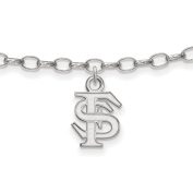 925 Sterling Silver Rhodium-plated Laser-cut Florida State University Anklet 23cm