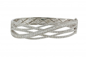 4.55tcw Round Clear Diamonds in 14K White Gold Overlapping Bar Bangle Bracelet - 17cm