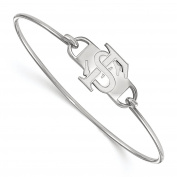 Sterling Silver Rhodium-plated Laser-cut Florida State University Small Centre Wire Bangle Bracelet 18cm