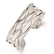 925 Sterling Silver Rhodium-plated Polished & Patterned Concave Scrunch Cuff Bangle Bracelet by Leslie's