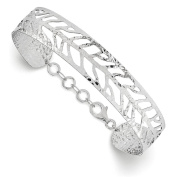 925 Sterling Silver Rhodium-plated Polished & Hammered Cuff Bangle Bracelet 19cm by Leslie's