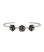 Sterling Silver Rose Antique Style Cuff