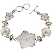 White Mother Of Pearl Shell Flower Mabe Cultured Pearl 925 Sterling Silver Peridot Toggle Bracelet, 18cm - 19cm