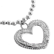 Filigree Open Heart Love Valentine 925 Sterling Silver Charm Bracelet, 18cm Stretch
