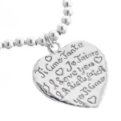 I Love You Je Taime Ti Amo 925 Sterling Silver Heart Double Sided Charm Bracelet, 18cm Stretch
