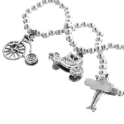 Bicycle Car Plane Travel 925 Sterling Silver 3D Double Sided Charm Bracelet, 18cm