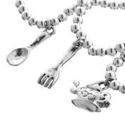 Fork Spoon Teapot Teaparty 925 Sterling Silver 3D Double Sided Charm Bracelet, 18cm