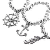 Wheel Anchor Seahorse Nautical Ocean 925 Sterling Silver 3D Double Sided Charm Bracelet, 18cm