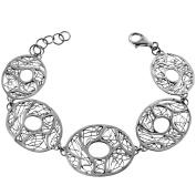 Handmade Swirling Filigree Oval 925 Sterling Silver Bracelet, 18cm - 20cm