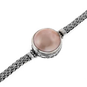 Pink Mabe Cultured Pearl Braided Chain 925 Sterling Silver Filigree Toggle Bracelet, 6 2.5cm /5.1cm - 18cm