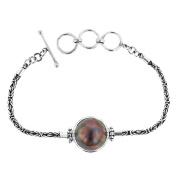 Blue Mabe Cultured Pearl 925 Sterling Silver Bracelet, 19cm - 20cm
