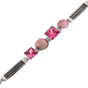 Pink Mabe Cultured Pearl Pink Cubic Zirconia 925 Sterling Silver Toggle Bracelet, 17cm - 19cm