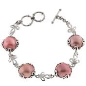 Pink Mabe Cultured Pearl 925 Sterling Silver Bracelet, 18cm - 20cm