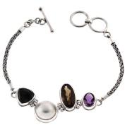 Onyx Smokey Quartz Amethyst White Mabe Cultured Pearl 925 Sterling Silver Bracelet, 18cm - 19cm