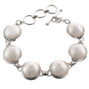 White Mabe Cultured Pearl 925 Sterling Silver Bracelet, 17cm - 19cm