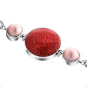 Red Sponge Coral Pink Mabe Cultured Pearl 925 Sterling Silver Toggle Bracelet, 18cm - 19cm