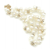 Freshwater White Round Pearl 18cm Bracelet,14K Yellow Gold