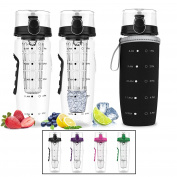 Bevgo Fruit Infuser Water Bottle - Large 1 Litre - Save Your Money and Hydrate the Healthy Way - Multiple Colours with Gift Included