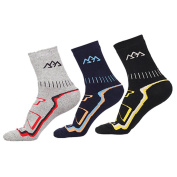 COOLMAX Breathable Warm Socks with 3 Pair - Mens Thermal Sock Fits for Winter Ski Walking Running Snowboard Camping Climbing Sports - Outdoor Hiking Trekking Boot Crew Socks with Thick Cushion Padded and Heat Ankle Protection Design - Men Size UK 6-10 ..