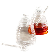 Two's Company 51359 Honey Pot with Honey Comb, Clear