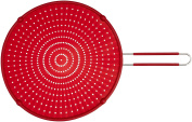 ExcelSteel Silicone Splatter Screen with Non-Slip Grip, Red, 33cm