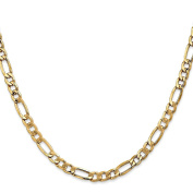 14K Yellow Gold 5.35MM Semi-Solid Figaro Link Bracelet