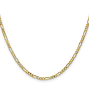 14K Yellow Gold 2.50MM Figaro Link Bracelet, 7""