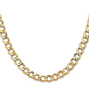 14K Yellow Gold 6.00MM Semi-Solid Curb Link Bracelet