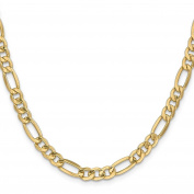 14K Yellow Gold 6.60MM Semi-Solid Figaro Link Bracelet