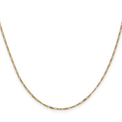 14K Yellow Gold 1.25MM Flat Figaro Link Bracelet, 7""