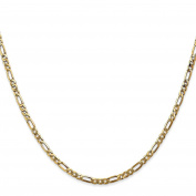 14K Yellow Gold 2.75MM Flat Figaro Link Bracelet