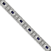 925 Sterling Silver Rhodium-plated Polished & Textured Blue & Clear CZ Tennis Bracelet 18cm