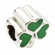 Hallmarked Sterling Silver Green Enamel Shamrock Bead Charm